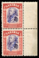 Lot 1665:1942 Diagonal Overprints in Blue 50c violet & scarlet SG #J20b marginal pair, fine MUH, Cat £2,000+.
