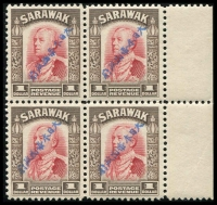 Lot 1881:1942 Diagonal Overprints in Blue $1 scarlet & sepia SG #J21a marginal block of 4, fine MUH Cat £2,200+. Rare Multiple.