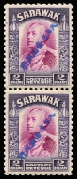 Lot 1668:1942 Diagonal Overprints in Blue $2 bright violet & purple vertical pair, fine MUH, Cat £1,200+.