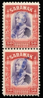 Lot 1666 [1 of 3]:1942 Diagonal Overprints in Blue on 50c vertical pair, $1 strip of 3 (soiled/stained) & $2 single, all MUH, Cat £4,250+.