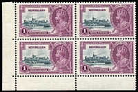 Lot 1670:1935 Silver Jubilee 1r slate & purple coner block of 4, upper-left unit variety Extra flagstaff SG #131b, lower units MUH, Cat £235+.