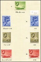 Lot 1525 [2 of 5]:1938-49 KGVI Pictorials complete set including all Gibbons listed shade & paper types between SG #135-49, mounted on 4 album pages, fine mint, Cat £1,200+. Seldom offered complete set. (45)