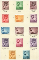 Lot 1525 [3 of 5]:1938-49 KGVI Pictorials complete set including all Gibbons listed shade & paper types between SG #135-49, mounted on 4 album pages, fine mint, Cat £1,200+. Seldom offered complete set. (45)