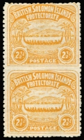 Lot 1450:1907 Large Canoe 2½d orange-yellow vertical pair, variety Imperforate between vertical pair SG #4a, very fine unused, gum sensibly removed as most mint examples have thinning from hinge removal, Cat £7,500. A great rarity.