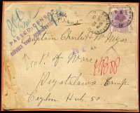 Lot 1684 [2 of 5]:1900-01 Fronts to POWs in Ceylon: x13, one with fine strike of 'PASSED CENSOR/REFUGEE CAMP, SPRINGFONTEIN, O.R.C.' two-line handstamp, also registered front from Diyatalawa Camp to Standerton, South Africa; condition quite variable, with a small drop of glue used to adhere them to the backing card. (14)