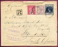 Lot 1684 [1 of 5]:1900-01 Fronts to POWs in Ceylon: x13, one with fine strike of 'PASSED CENSOR/REFUGEE CAMP, SPRINGFONTEIN, O.R.C.' two-line handstamp, also registered front from Diyatalawa Camp to Standerton, South Africa; condition quite variable, with a small drop of glue used to adhere them to the backing card. (14)