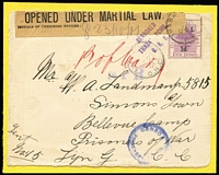 Lot 1685 [1 of 7]:Selection Of Covers Or Fronts: addressed to Boer POWs interned in prison camps in Ceylon x4, India x2, Bermuda, (front, with scarce 'PRISONERS OF WAR/PASSED CENSOR/BERMUDA' censor handstamp in blue), Ladysmith Camp, Umbilo Camp (registered from Potchefstroom), Belle Vue x3 or Green Point Camp x9 including registered front from Landshut in Germany, and registered front from Ingersfontein; usual variable condition, with a small drop of glue used to adhere them to the backing card. Good lot. (21)