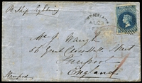 "Lot 840:1856 cover to England ""Pr Ship Lightning"" with imperf 6d deep blue SG #3 (three margins, just shaved at right) tied by DN '1' cancel with 'PORT-ADELAIDE/AU23/1856' datestamp alongside, Liverpool tombstone arrival datestamp in red partly ties stamp."