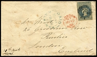 Lot 1166:1858 cover to England with imperf 6d slate-blue SG #10 cancelled by DN '2' cancel of Hindmarsh, 'PAID/MR11/1858/ADELAIDE.SA' departure datestamp in blue, London Paid arrival datestamp in red. Scarce stamp on cover.
