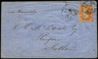 Lot 825:1865 (Dec 23) cover to Scotland with Rouletted 10d (in blue) on 9d orange-red SG #35 tied by Adelaide 'DE29/65' datestamp, cover with minor blemishes. Attractive.