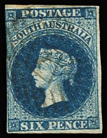 Lot 1004 [3 of 3]:1855 Imperf London Printing 1d dark green, 2d rose-carmine & 6d deep blue SG #1-3, 2d complete margins, 1d just cut-into at top, 6d just shaved at left, all with diamond numeral cancels, Cat £755. (3)