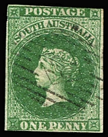 Lot 1004 [1 of 3]:1855 Imperf London Printing 1d dark green, 2d rose-carmine & 6d deep blue SG #1-3, 2d complete margins, 1d just cut-into at top, 6d just shaved at left, all with diamond numeral cancels, Cat £755. (3)