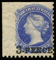 Lot 810:1870-71 Wmk Large Star Perf 10 3d (in black) on 4d ultramarine SG #93, few tonespots at right, oversized corner-marginal example with part sheet-edge watermark at left, large-part og, Cat £350+. Underrated.