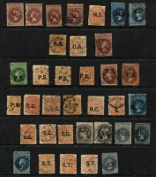 Lot 1022 [3 of 5]:Balance Of A Collection various department with overprints mostly in black comprising 'A.O.' x4, 'B.G.' x3, 'C.' x10, 'C.L.' x7, 'C.O.' x7 (one in red), 'C.P.' x2 (both in red), 'C.S.' x6, 'D.B.', 'E.' x2, 'G.P', 'H.A.' x3 (one in red), 'L.T' x9, 'P.' x26 (four in blue) including four pairs, 'M' x4 (all in red), 'M.B.' x3, 'O.A' x2, 'P.O.' (in red), 'P.S.' x6, 'P.W.', 'R.B.' x3, 'R.G.', 'S.' x2, 'S.G.' x8 (two in red), 'S.T.' x2 (one in red), 'S.M.' x9 (two in blue), 'T.' in black x15 & 'W' x2; a few dubious overprints sighted, plenty of rated cancels, however condition is very mixed. (139)