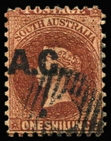Lot 1023 [1 of 2]:Attorney-General 'A.G.' in black on Large Star 1/- P10, Strong offset of overprint on reverse, Adelaide dumb cancel, Rated R.