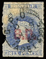 Lot 1026:Barracks Department 'B.D.' in red on Large Star 6d blue rouletted, defect in left margin & some general thinning, very fine Adelaide 'JY19/69' datestamp, Rated 2R.