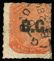 Lot 1029:Botanical Garden 'B.G.' in black on Large Star 2d vermilion rouletted, marginal vertical watermark lines at left, tidy cancel, Rated 2R.