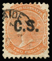 Lot 1031:Chief Secretary 'C.S.' in black on Crown/SA 2d red-orange P10, fine example, Rated 2R.