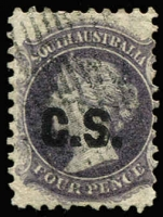 Lot 951:Chief Secretary C.S' in black on V/crown 4d dull purple P10, short perf, quite fine, Rated 4R.