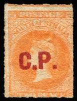 Lot 1040:Commissioner Of Police 'C.P.' in red on Large Star 2d vermilion rouletted, blind pinhole otherwise fine unused, Rated 4R.