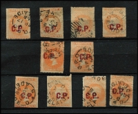 Lot 1041 [2 of 2]:Commissioner Of Police 'C.P.' in red on Large Star 2d rouletted x11, a couple with complete margins, one unusually with DN '60' cancel, other with tidy 1868-69 Adelaide datestamps; mostly fine. (11)