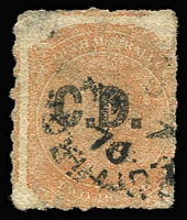 Lot 1042:Convict Department 'C.D.' in black on Rouletted Large Star 2d pale orange, 1870 datestamp, Rated 2R.