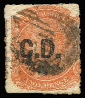 Lot 1043:Convict Department 'C.D.' in black on Rouletted Large Star 2d red-orange, used, Rated 2R.