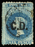 Lot 1044:Convict Department 'C.D.' in black on Large Star 6d blue P12xRoulette, thin patch centre-right & small stain, tidy cancel, Rated 5R.