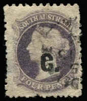 Lot 952:Customs 'C.' in black on Large Star 4d dull purple P10x12, quite fine, Rated R.