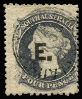 Lot 954:Engineer 'E' in black on Large Star 4d dull purple P12, shallow thinning at top, tidy Adelaide datestamp, Rated R.