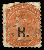 Lot 828:Hospitals 'H.' in black on V/Crown 2d orange P10, straight edge at top, Rated 3R.