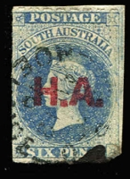 Lot 955:House Of Assembly 'H.A.' in red on Large Star 6d ultramarine rouletted, ink stained at base, Rated 2R.