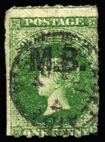 Lot 1079:Marine Board 'M.B.' in black on Large Star 1d green rouletted, small defect lower-right corner, centrally struck Adelaide datestamp, Rated 2R.