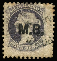 Lot 1080:Marine Board 'M.B.' in black on Large Star 4d dull purple P10, some aging, oversized example with vertical watermark line at right, Rated 2R.
