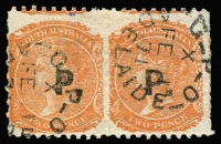 Lot 1084:Police 'P.' in black on Crown SA 2d orange-red P10xRoulette pair, Adelaide 'FE1/71' datestamps, Rated 2R.
