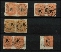 Lot 957 [2 of 2]:Police 'P.' overprints on pairs selection comprising in blue on 2d Crown/SA rouletted; in black on 2d Crown/SA rouletted, 2d P10, 2d P12x10 and on V/Crown P10; also V/Crown P10 oversized corner single; odd tone, generally fine. (6 items)