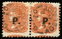 Lot 957 [1 of 2]:Police 'P.' overprints on pairs selection comprising in blue on 2d Crown/SA rouletted; in black on 2d Crown/SA rouletted, 2d P10, 2d P12x10 and on V/Crown P10; also V/Crown P10 oversized corner single; odd tone, generally fine. (6 items)