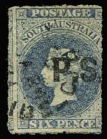 Lot 830:Private Secretary 'P.S.' in black in Large Star 6d dull blue rouletted, tidy datestamp cancel, Rated 4R.