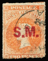 Lot 958:Stipendiary Magistrate 'S.M.' in red on Large Star 2d vermilion rouletted, tidy cancel, Rated 2R.