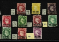 Lot 1512 [2 of 2]:1863-94 Mint/Unused Selection with 1863 imperf 1d lake Type A unused, perforated 1864-60 P12½ 1d lake Type A mint, 2d yellow Type B unused, 3d deep dull purple unused (aged), 4d carmine Type B mint, 1/- deep yellow-green Type A unused (few trimmed perfs, Cat £450), P14x12½ 1d mint, plus a few 1884-94 issues; few blemishes, generally fine, Cat £1,000+. (11)
