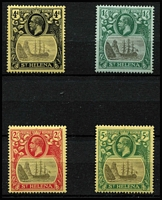 Lot 1514 [2 of 2]:1922-37 KGV Badge Wmk MCA 4d to £1 set SG #92-96, fresh colours, fine mint, key £1 value MVLH, Cat £500. (5)