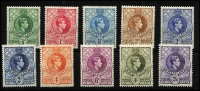 Lot 1692 [2 of 4]:1938-54 KGVI ½d to 10/- P13½x13 including 3d shade and ½d to 10/- P13½x14 including Gibbons listed shades for ½d, 3d, 6d, 2/6d & 5/- plus unlisted 2d shade, fine MLH/MVLH, some stamps MUH, Cat £500+. (31)