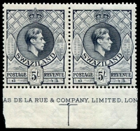 Lot 1693:1938-54 KGVI P13½x13 SG #37 pair with large part DLR imprint, MUH, Cat £140+.