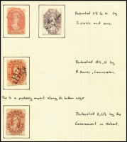 Lot 383 [3 of 4]:1853-1912 Array with poor 4d Courier cut-to-shape, imperf Chalons 2d x4 & 4d x2, perforated Chalons to 1/- including 4d slurred printing (reperforated) & 1/- with 'LATE/LETTER' handstamp, plus Sidefaces & Tablets; mixed condition. (58)