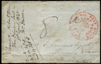 "Lot 853 [3 of 4]:1847 (Feb 18) to England with Hobart Town and '(crown)/FREE/18FE18/1847' datestamps both in red, signed by the sender C. E. Stanley (Secretary to the Lieutenant Governor of VDL) at lower-left, York arrival backstamp in blue; fine condition; also 1848 (Mar 1) to Ireland endorsed ""Claremont, Hobart Town"" with fine strike of Hobart Town datestamp, fine Belfast arrival backstamp in blue. (2)"