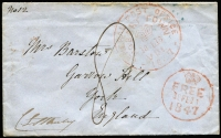 "Lot 853 [1 of 4]:1847 (Feb 18) to England with Hobart Town and '(crown)/FREE/18FE18/1847' datestamps both in red, signed by the sender C. E. Stanley (Secretary to the Lieutenant Governor of VDL) at lower-left, York arrival backstamp in blue; fine condition; also 1848 (Mar 1) to Ireland endorsed ""Claremont, Hobart Town"" with fine strike of Hobart Town datestamp, fine Belfast arrival backstamp in blue. (2)"