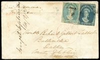 "Lot 855:1857 (Sep 14) cover to Ireland endorsed ""Fingal September"" & dated ""14/9/67"" sent ""Via Melbourne/Per Simla"" with imperf 2d (colour changeling) & 4d Chalons indistinctly cancelled, the 2d tied by London Paid datestamp in red, on reverse Post Office Launceston boxed datestamp and part Kingston (Dublin) arrival datestamp in green."