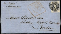 "Lot 856:1858 (July 13) cover to London endorsed ""per Emeu/& overland mail"" with imperf 6d dull lilac Chalon SG #40 tied by BN '60' cancel with 'POST-OFFICE/LAUNCESTON' boxed datestamp alongside, on reverse London arrival datestamp, fine condition."
