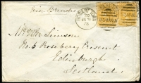 Lot 858:1878 (Jan 21) cover to Scotland with 4d ochre Sideface x2 paying ship letter rate via Brindisi, very fine Edinburgh 'MR11/78' backstamp. Rare franking.