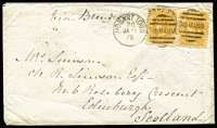 Lot 1199 [1 of 2]:1878 (Jan 21) cover to Scotland with 4d ochre tied by Hobart Town 'JA21/78' pair paying ship lettter rate via Brindisi, very fine Edinburgh 'MR11/78' backstamp. Rare franking.